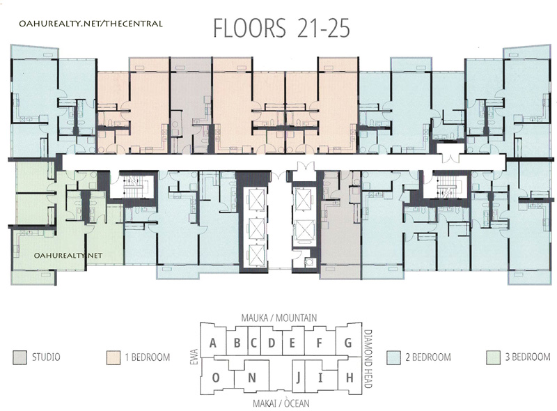 floors 21-25 the central ala moana