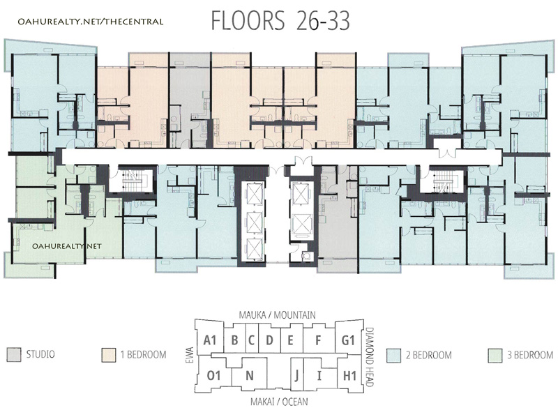 floors 26-33 the central ala moana