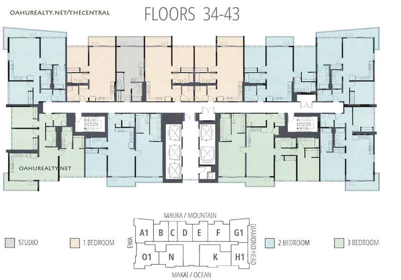 floors 34 through 43 at the central ala moana honolulu