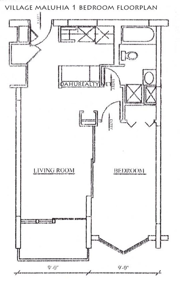 village maluhia one bedroom floorplan