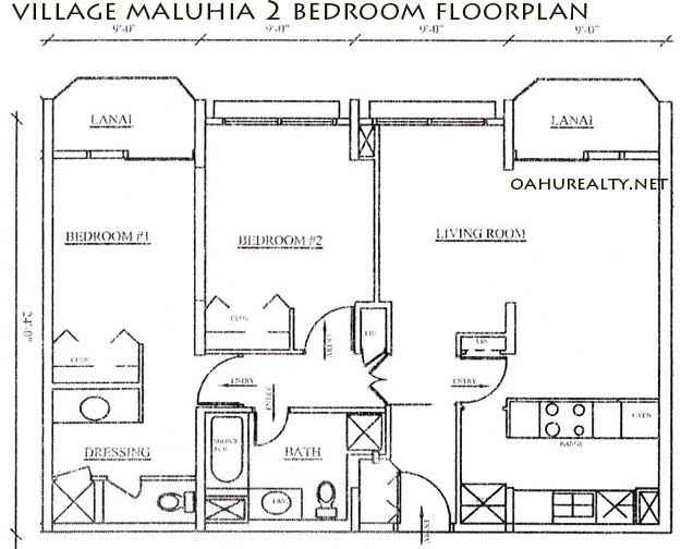village maluhia 2 bedrooms floorplan