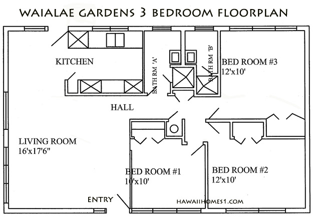 waialae gardens 3 bedroom plan