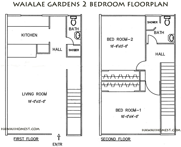 waialae gardens two bedroom floorplan