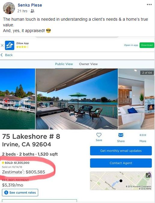 Irvine Newport Coast Zillow Value compared to sold price