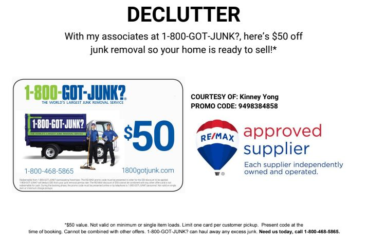Orange County $50.off coupon for Got Junk trash hauling