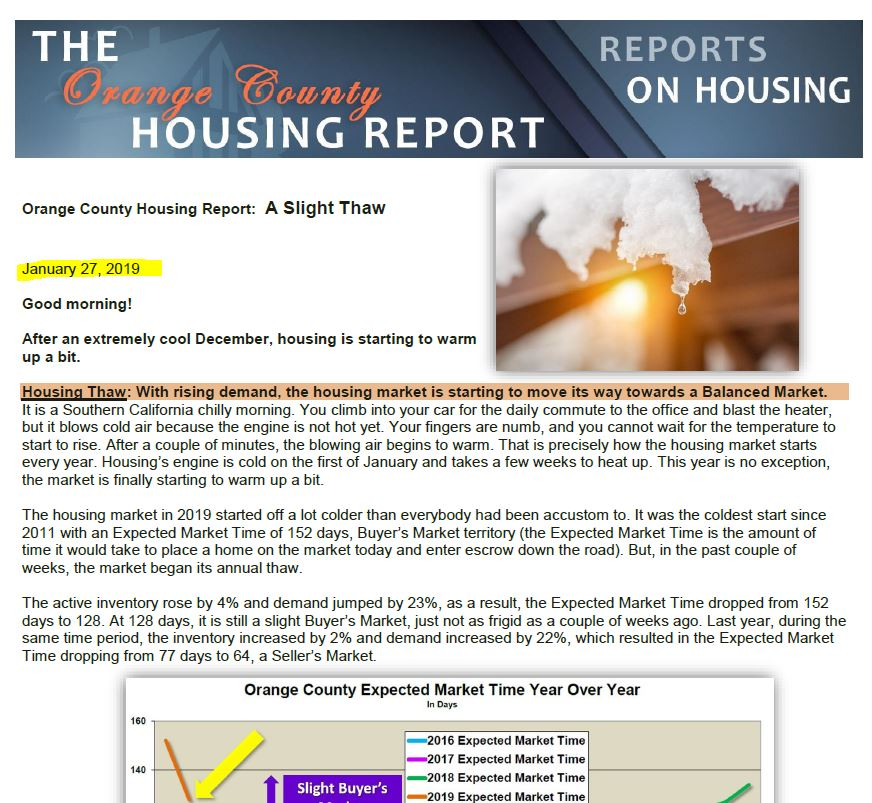 January 2019 first page Orange County California housing market update