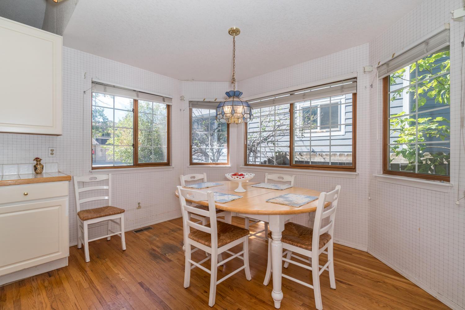 Bright white kitchen in apartment