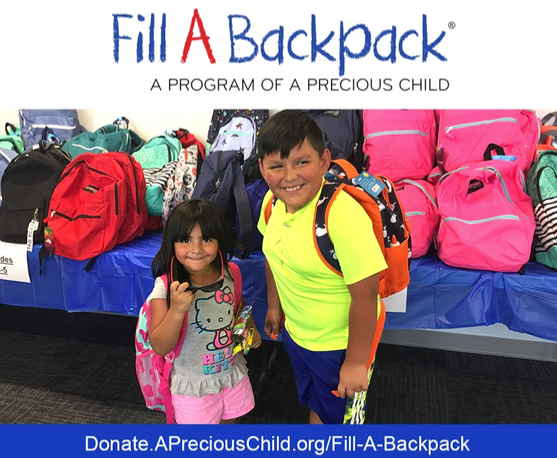 Logo for A Precious Child Fill a Backpack Campaign 2019 with 2 young children
