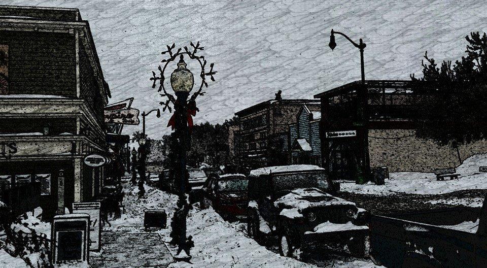 Winter snowy scene on Main Street facing south
