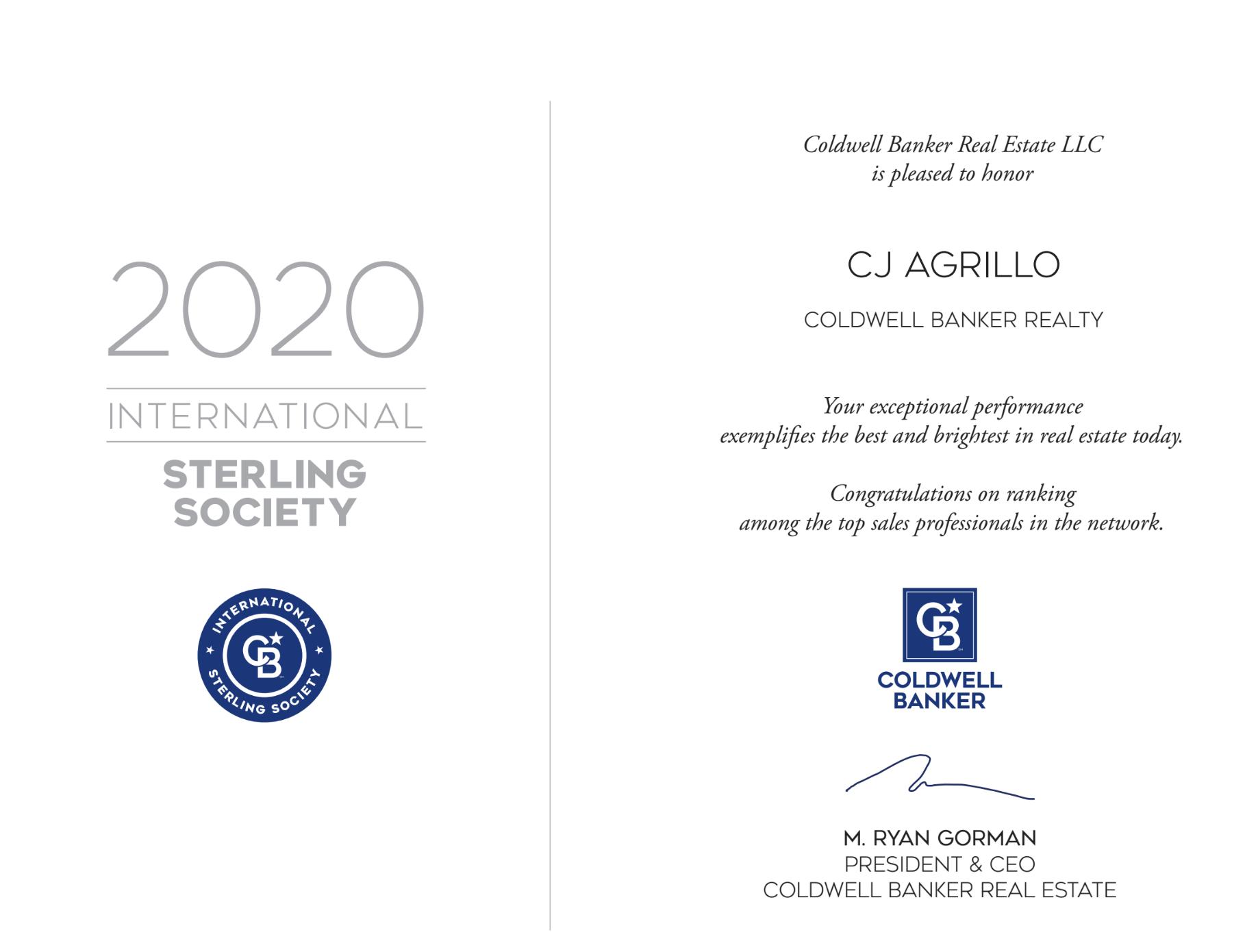 2020 Sterling Award