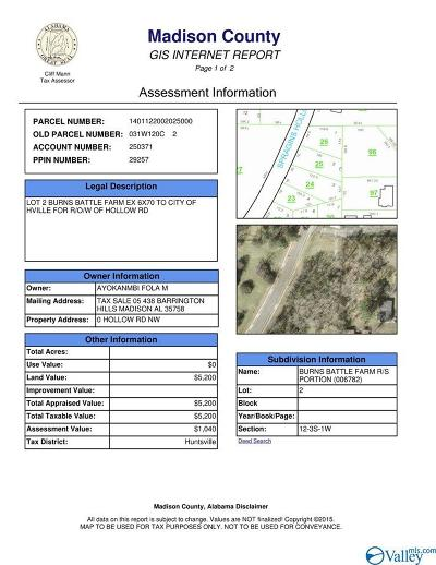 Huntsville Residential Lots & Land For Sale: Hollow Road
