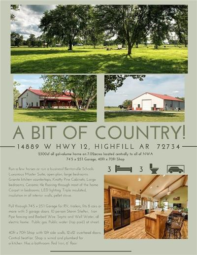 Benton County Single Family Home For Sale: 14889 W Hwy 12 Unit #7.02 acres #7.02 acr