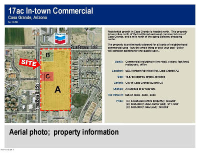 Casa Grande Residential Lots & Land For Sale: Sec Trekell And Kortsen Road