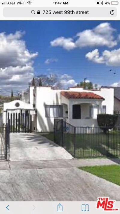 Los Angeles Single Family Home Active Under Contract: 725 West 99th Street