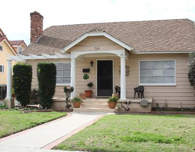 Glendale Single Family Home For Sale: 720 Palm Drive