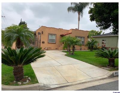 Burbank Single Family Home For Sale: 511 South Sunset Drive