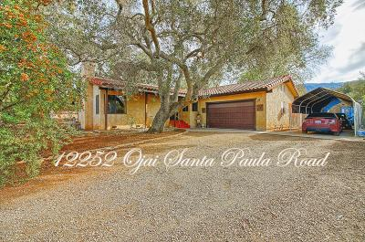 Single Family Home For Sale: 12252 Ojai Santa Paula Road