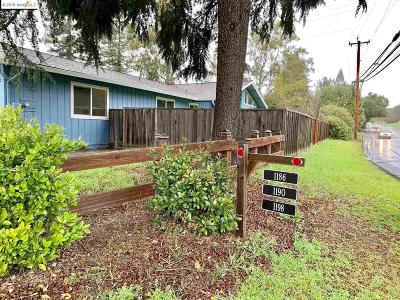 Moraga Single Family Home Pending Show For Backups: 1186 Moraga Rd