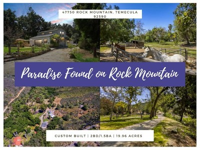 Temecula Single Family Home For Sale: 47750 Rock Mountain