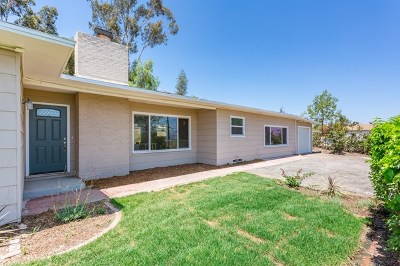 El Cajon Single Family Home For Sale: 386 Tyrone St
