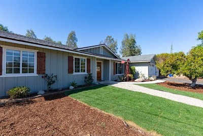 Fallbrook Single Family Home For Sale: 1115 S S Stage Coach Ln
