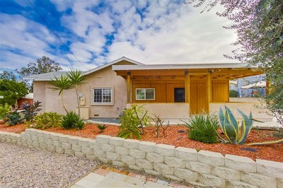 La Mesa Single Family Home For Sale: 8345 Pasadena Ave.