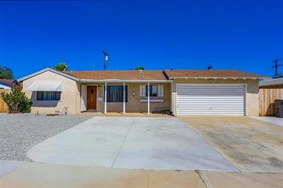 El Cajon Single Family Home For Sale: 639 Verdin St