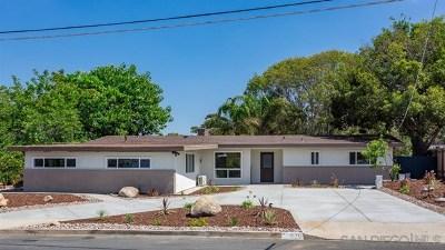 El Cajon Single Family Home For Sale: 829 Wakefield Ct