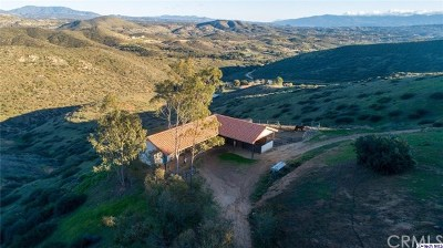 Temecula Single Family Home For Sale: 33800 Black Mountain Road
