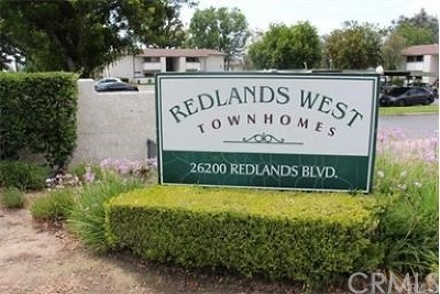 Redlands Condo/Townhouse For Sale: 26200 Redlands Boulevard #176