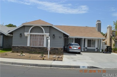Perris Single Family Home For Sale: 87 Bold Venture Street