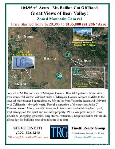 Bear Valley Residential Lots & Land For Sale: Mt. Bullion Cut Off