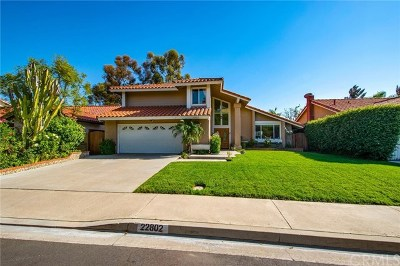 Mission Viejo Single Family Home For Sale: 22802 Boltana