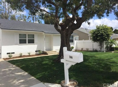 Costa Mesa Single Family Home For Sale: 366 Ralcam Place