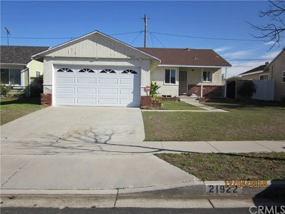 Torrance Single Family Home For Sale: 21922 Ladeene Avenue