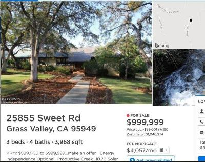 Grass Valley Single Family Home For Sale: 25855 Sweet Road