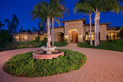 Rancho Santa Fe CA Single Family Home For Sale: $7,995,000