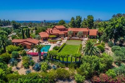 Rancho Santa Fe Single Family Home For Sale: 17009 El Mirador