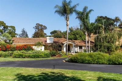Rancho Santa Fe Single Family Home For Sale: 4611 El Mirlo