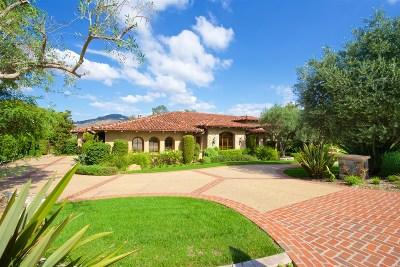 Rancho Santa Fe CA Single Family Home For Sale: $5,495,000