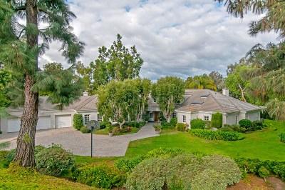 Rancho Santa Fe Single Family Home For Sale: 3144 Cerros Redondos