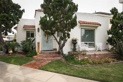 Coronado Single Family Home For Sale: 132 Palm Ave