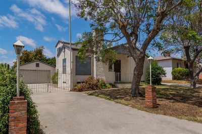 San Diego Single Family Home For Sale: 5760 Winchester St