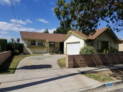 San Diego Single Family Home Contingent: 5622 McHugh St