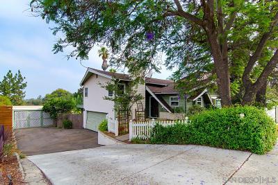 La Mesa Single Family Home For Sale: 7892 Normal Ave