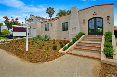Solana Beach Single Family Home For Sale: 314 Barbara Ave