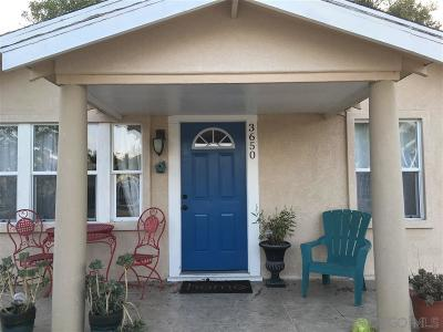 San Diego Single Family Home For Sale: 3650 Aroselawn