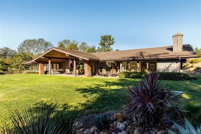 Rancho Santa Fe Single Family Home For Sale: 4972 San Elijo