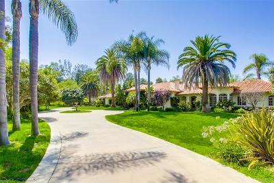 Rancho Santa Fe Single Family Home For Sale: 6036 San Elijo