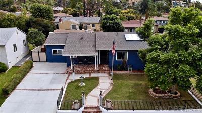 La Mesa Single Family Home For Sale: 3549 Niblick